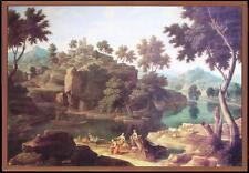 Seicento Arcadia: grande 105x74 paesaggio con scena arcadica di Nicolas Poussin