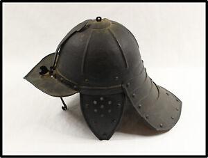 Antique RARE English Civil War lobster tail helmet 17th century n sword dagger
