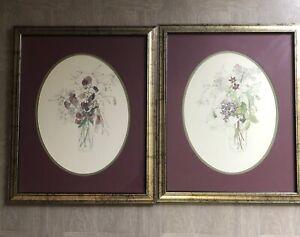 2 Vintage Mary Lou Goertzen Floral Botanical Print Framed Matted Farmhouse Chic