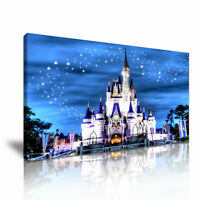 "Disney Castle   PICTURE CANVAS WALL ART 20/""X30/"" on offer"