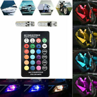 2PCS T10 W5W 5050 6SMD RGB LED Multi Color Light Bulbs Car Wedge Remote Control