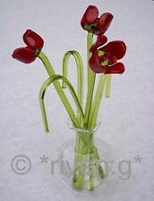 GLASS FLOWERS GIFT IN A VASE OF ROSES AND GORGEOUS GRASSES & ARRANGE AS YOU WISH