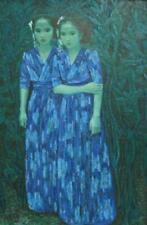 "Guang Tingbo, ""Twin Sisters T0023"" Oil on canvas C1992 with original Artist coa"
