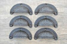 """Vtg victorian cast iron cabinet drawer bin pull cup handle clamshell design 3.6"""""""