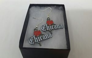 Chicana with rose  Earrings  Lowrider Rockabilly Chola