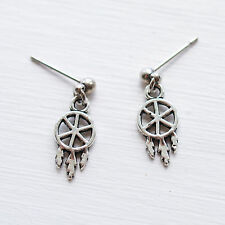 Dreamcatcher Stud Earrings - Boho Bohemian Feather Ear Studs Womens Jewellery UK