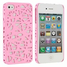 Hard Rubberized Snap Bird Nest Design Case for iPhone 4 / 4S - Light Pink