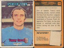 194 tommy carroll ipswich town england footballer card 1971 orange back ab&c