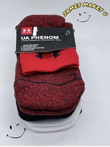 3 Pairs Under Armour Men's Phenom Quarter Cotton Sock Large 8-12 Red Black White