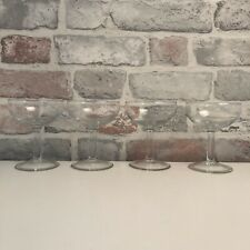Set of 4 Clear Glass French Champagne Round Bowl Drinking Goblets Glasses