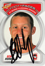 2006 NRL ACCOLADES PERSONALLY SIGNED FOOTY FACES CARD - FF108 BEN HORNBY DRAGONS