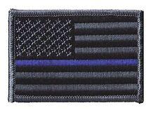"""HOOK/LOOP US flag 3""""x2"""" black/charcoal blueline stars left patch police REED-V"""