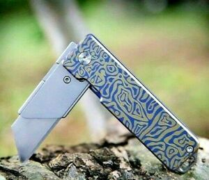 Wharncliffe Folding Knife Pocket Hunting Survival Wild Tactical Titanium Handle