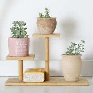 3 Tier Wood Bamboo Plant Pot Stand Flower Plants Collection Display Shelves NEW