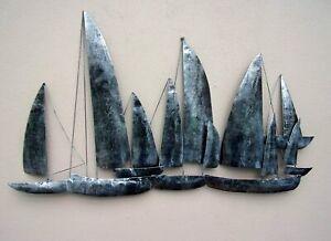 Hand Made Silver Ships Metal Wall Art Unusual Gun Metal Sailing Ships Wall Art