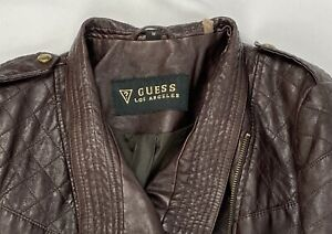Guess Los Angeles Women's Brown Leather Jacket Size Medium