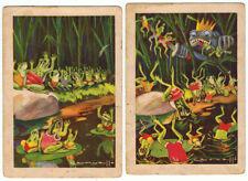 Colección completa de 2 cromos fábula Las Ranas pidiendo Rey. 7,5 x 10,5 cm