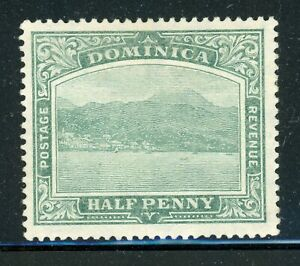 DOMINICA MH View of Roseau Selections: Scott #50 ½p Green Ordinary WMK3 CV$9+