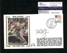 "Mark McGwire A's Signed ""Five Home Runs"" Cachet FDC Cover - JSA COA"