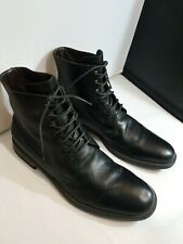 A. TESTONI BASIC LACE UP ANKLE BOOTS MENS LEATHER SHOES SIZE 10.5 BLACK