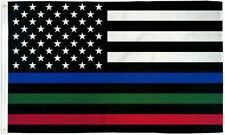 USA Thin Red, Blue & Green Line 3x5ft Flag - Grommets - Police - Fire - Military