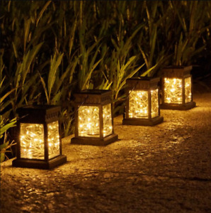 2Pcs Waterproof Solar Power Lantern Hanging LED Light Yard Outdoor Garden Decor