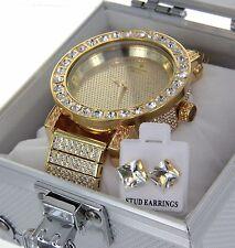 Mens 14K Gold Finish Lab Diamond Iced Out Diamond Maxx Watch Luxury