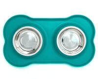 Puppy  Bowls Stainless Steel Double Dog Food and Water Bowls with Silicone Mat