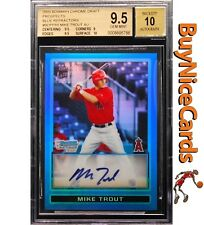 2009 Mike Trout Bowman Chrome Blue Refractor RC Rookie Auto /150 BGS 9.5 with 10
