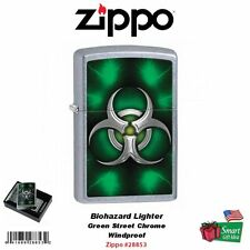 Zippo Biohazard Lighter, Green Street Chrome, Windproof #28853