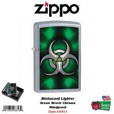 Zippo Biohazard Lighter, Green Street Chrome, Windproof #28853
