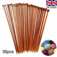 36x Bamboo Knitting Needles Set Carbonized Bamboo Knitting Needles Wooden Single