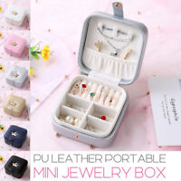 Portable Travel Jewelry Mini Box Leather Jewellery Ring Organizer Storage Case