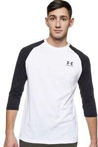 NWT Men's Under Armour Sportstyle LARGE White Black 3/4 Sleeve Tee Shirt