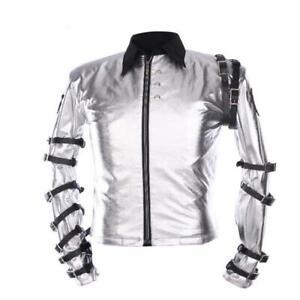 Michael Jackson King Of Pop Bad Concert MJ Belted Biker Silver Satin Jacket