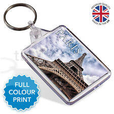 Paris Eiffel Tower France Souvenir Photo Gift Keyring Key Fob 50 x 35mm | Medium