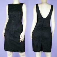 VINTAGE 90s Black Lace Wiggle Sleeveless Knee Floral Split Pencil Dress XS 8