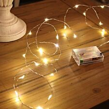 5M 50 LED Battery Operated Fairy String Lights | Silver Copper Wire | WARM WHITE