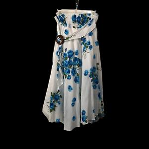 Womens White Broom Stick Skirt Blue Floral Hi Low Midi Boho Size Standard M L