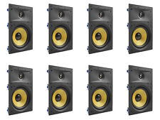 """8 Pack - TDX 8"""" 2-Way In Wall Home Theater Surround Sound Speaker Flush White"""