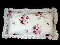 Simply Shabby Chic Floral Pillow Shams King Size Ruffled Red White (2) EUC