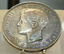 1897 SG-V Philipinnes Silver 1 Peso, Old World Silver Coin, 1 Year Type
