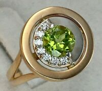 Vintage Original Rose Gold Chrysolite Ring 585 14K, Chic Chrysolite Ring 14K