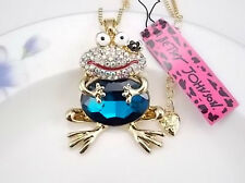 NEW BETSEY JOHNSON CUTE BLUE CARTOON FROG NECKLACE PENDANT ~ FREE SHIPPING