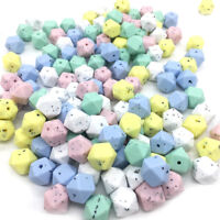 Gritty Speckles Hexagon Silicone Teething Beads Baby Chewable Necklace Teether