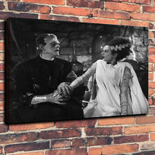 "Classic Horror Frankenstein and Bride Box Canvas A1.30""x20""~Deep 30mm Frame"
