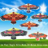 1Pc 1M Flat Eagle Kite With 50M Kite Line Children Flying Bird Kites Outdoor  Pg