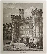 1876:VEDUTA DELLA PORTA PALATINA A TORINO.PIEMONTE.ANTICA.ORIGINALE.Xilo.Etna