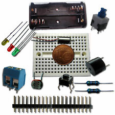 Kit componentes, mini motor, protoboard, resistencias,  arduino, diodos, leds