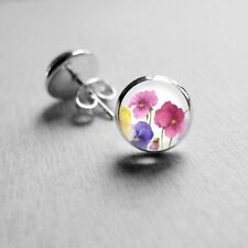 Earrings Surgical Stainless Steel Post 14mm Multi Cols Botanical Glass Dome Stud